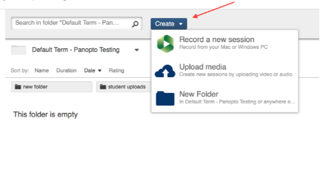 """Uploading and Media management - The """"Create"""" button"""