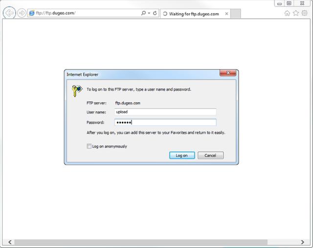 Uploading via Internet Explorer