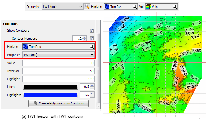 """a) Display time contours for a TWT horizon by selecting the TWT property for the """"Top Res"""" horizon."""
