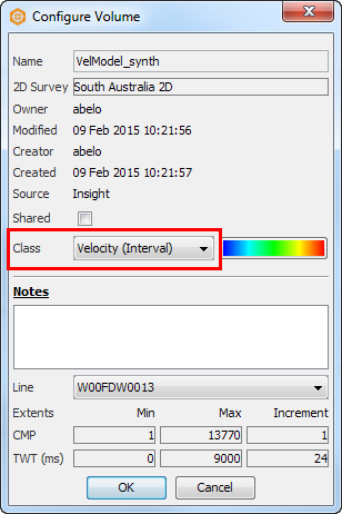 Set the class of the result volume to Velocity (Interval)