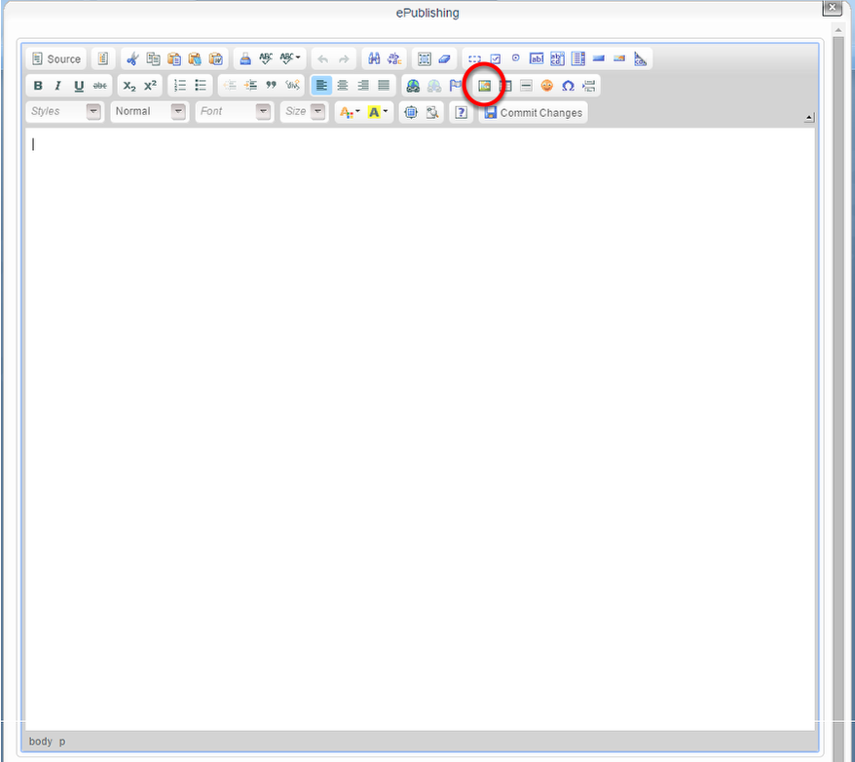 When the WYSIWYG editor opens, click on the image icon.