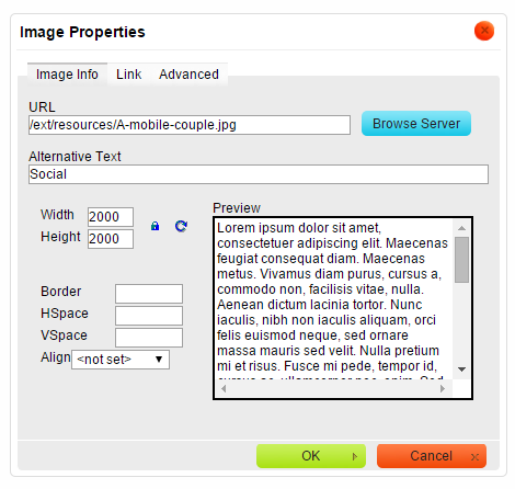 Adjust the settings for your image and click OK.