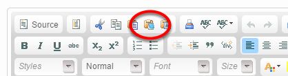 You may also copy and paste your content using the Paste as Plain Text tool in the editor.