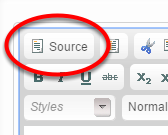 To edit the html source, click the source icon.