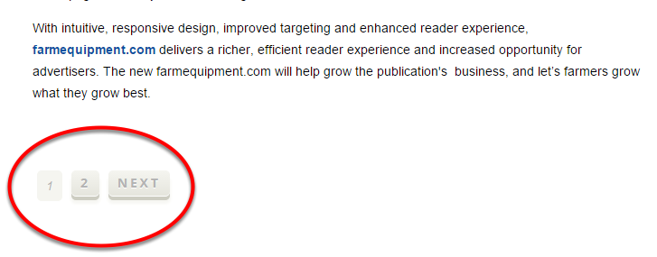 Paginating an article will automatically add page numbers to the bottom of each page of your article.