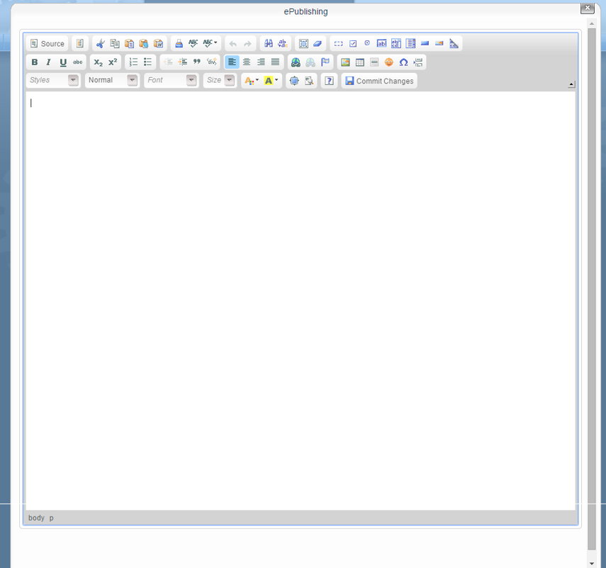 Opening the WYSIWYG editor results in a pop-up window that looks like this: