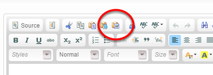 To paste your blog post from Microsoft Word, click on the Word icon at the top of the editor.