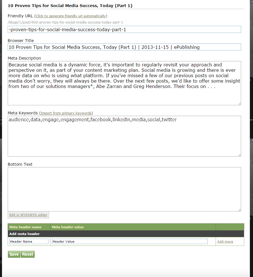 Click Save and return to the top of the Blog Post Manager. Hover over Edit and select SEO.