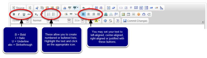 To format your blog post, use the buttons in the WYSIWYG toolbar. The most common formatting tools are circled below.