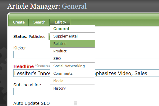 Go to the Related section of your article, blog post or other content.