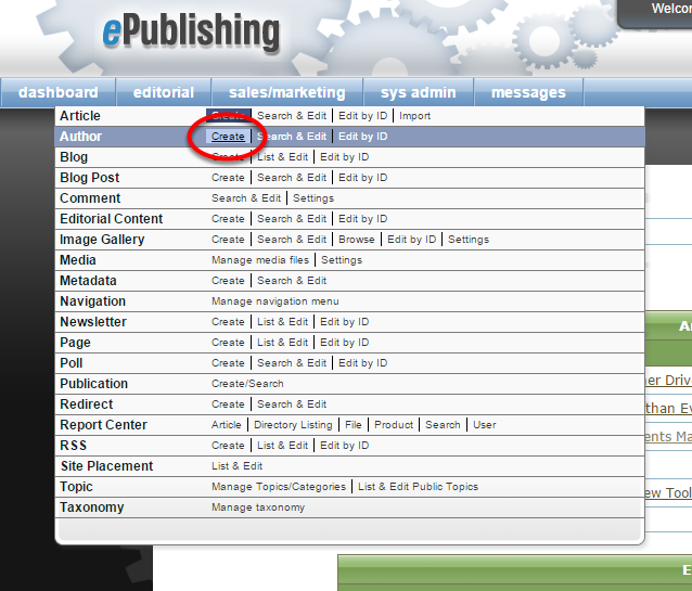 Option 2: The second way to access the Author Manager is to use the main navigation of your dashboard.