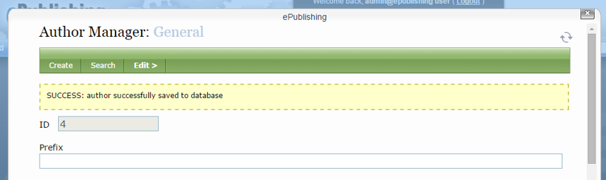 A yellow bar will appear when the new author has been saved to the database.
