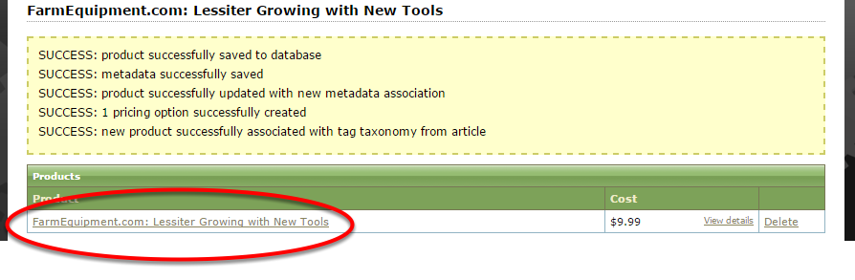 Click on the Product name to access the product for publishing.