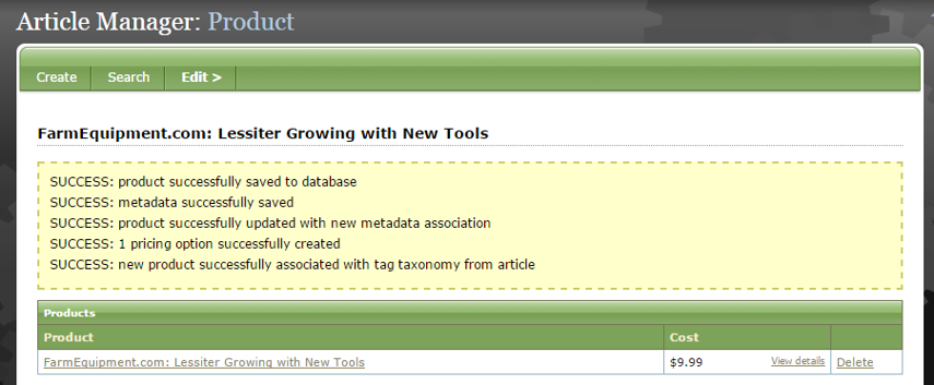 After you click Create, a yellow box will appear at the top of the Article Manager.