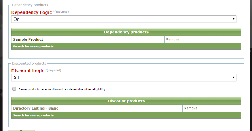 For example, if someone buys a Basic Directory Listing (as shown), he will receive a discount on the Sample Product.