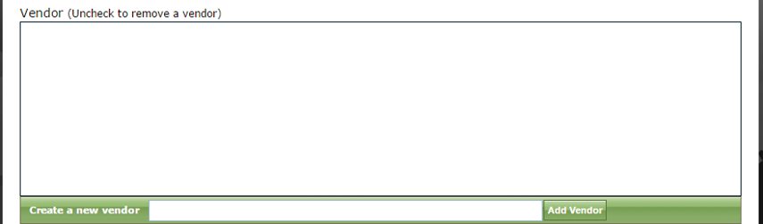 Select a vendor, or leave this blank. It is not required.
