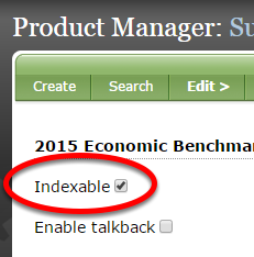 Click the box next to Indexable if you want the product to show up in search results on your website.