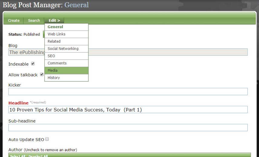 Under Edit in the Article or Blog Post Manager select Media.