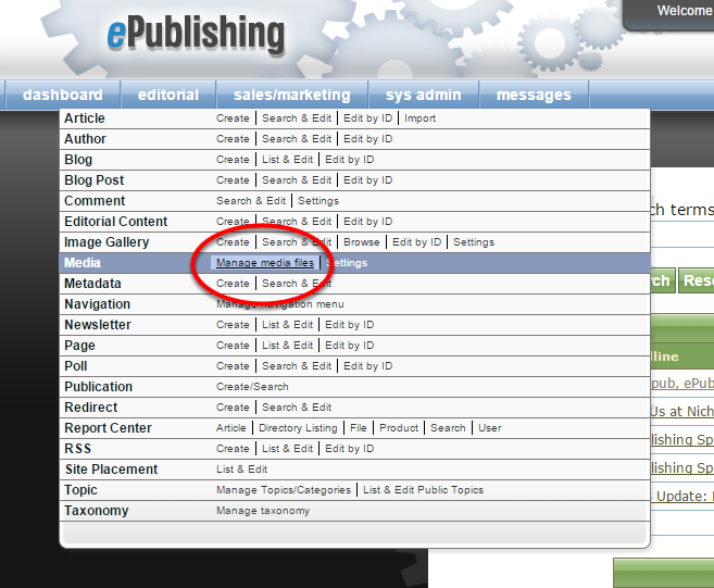 1. Open the Media Manager from your dashboard under Editorial.