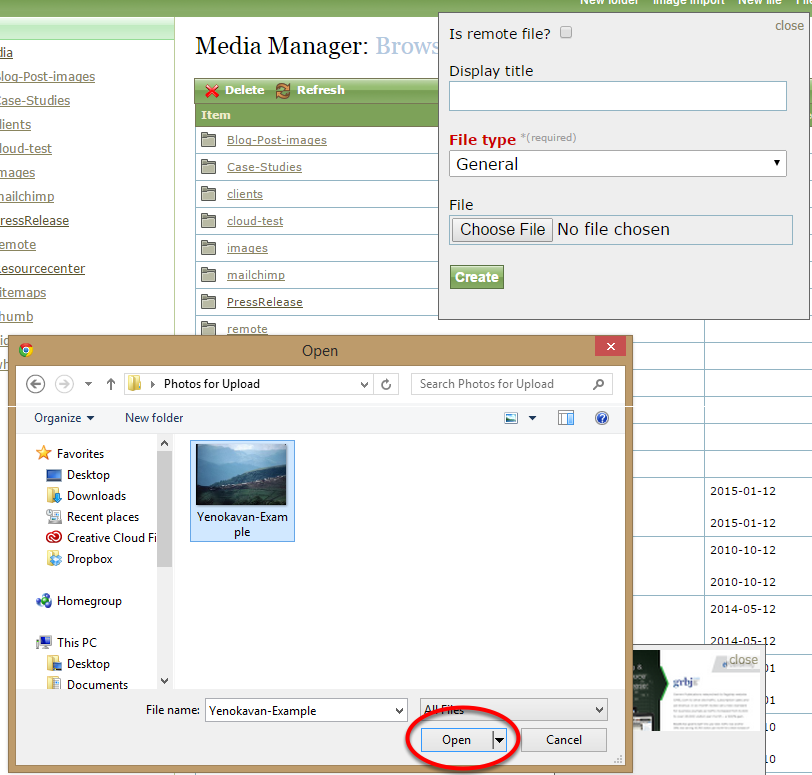 Select your media file and click Open.