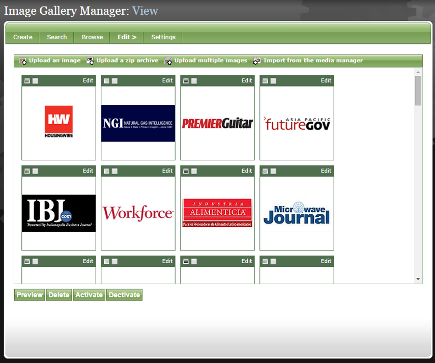 From the View page, access the existing images and add new ones.