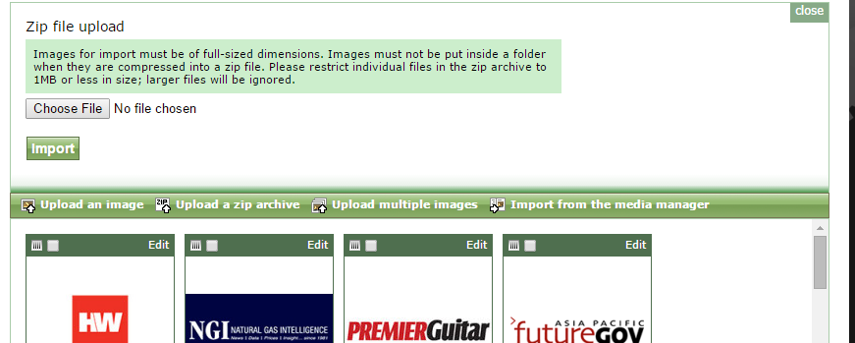 Or select Upload a Zip Archive, which will allow you to add a set of images in a Zipped folder from your computer.
