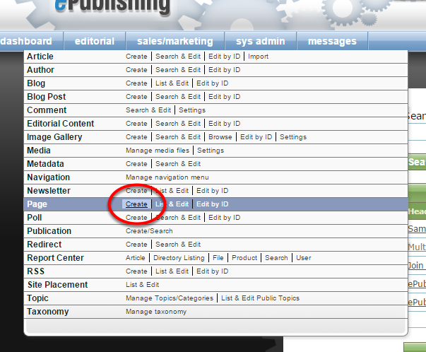 To access the Page Manager Tool, click on Create next to Page under Editorial on your dashboard.