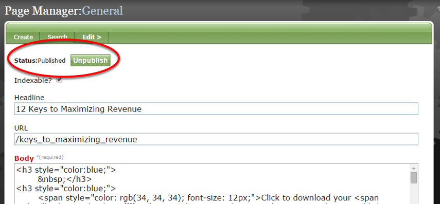 Return to the General section of the Page Manager Tool, and click the green Publish button next to Status.