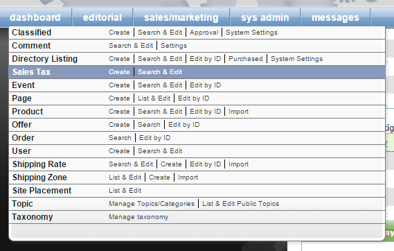 Access the Sales Tax Manager under Sales/Marketing in your Dashboard.
