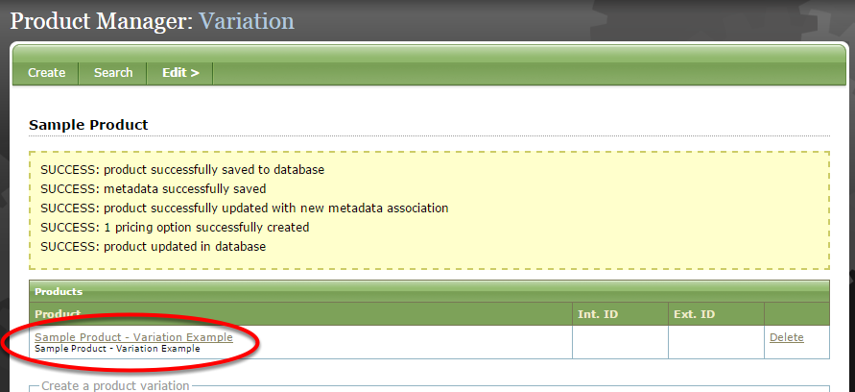 Your product variation is not yet live. Click on the name of your product variation to edit and publish.