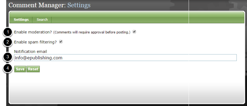 Enable moderation and notification within the Comment Manager Settings.