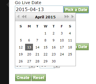 Select a Go Live Date by clicking on the green Pick a Date button.