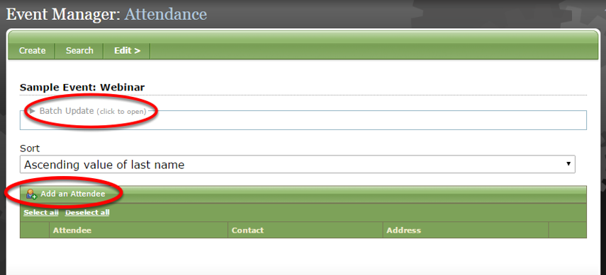 Upload registrations manually by clicking Batch Update or Add an Attendee (both circled below).