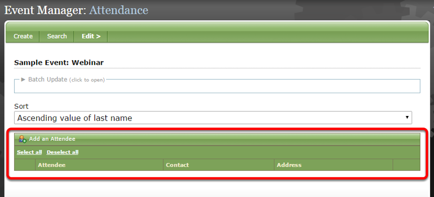 View the event attendee list under the green bar (circled below).