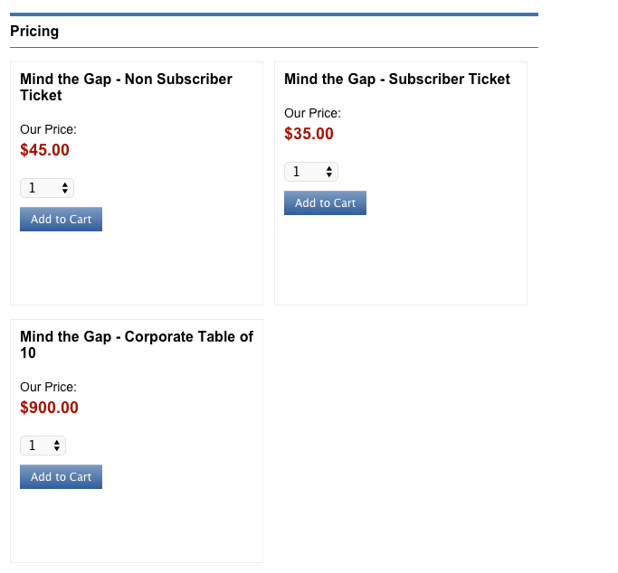 Pricing will appear as follows on your website. For each ticket sold, your customer will provide registrant details.