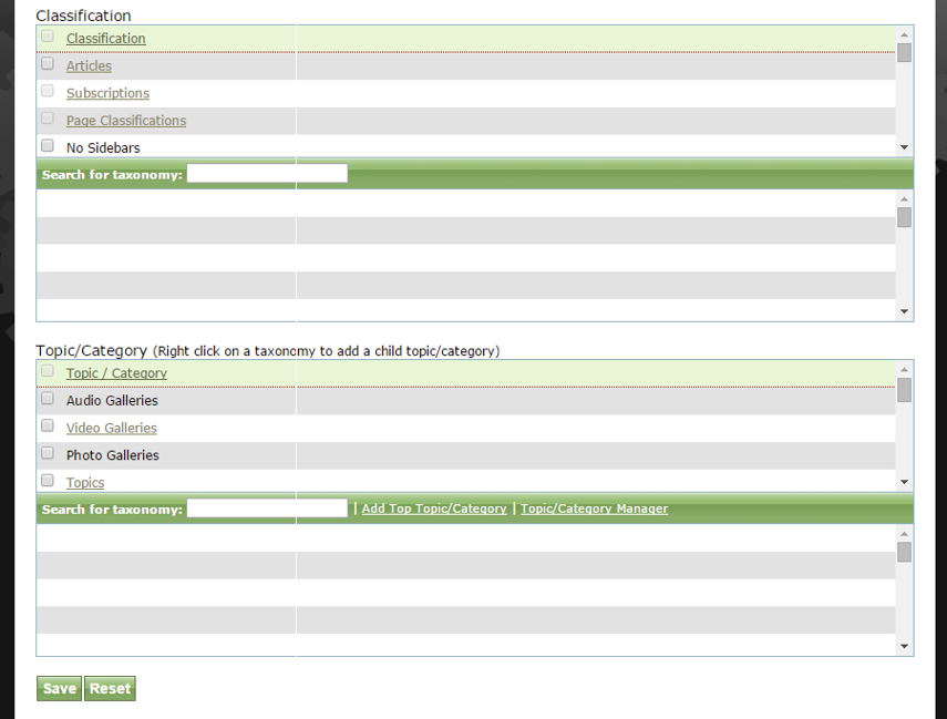 Assign additional Classification or Topic/Category, if desired, and click Save.