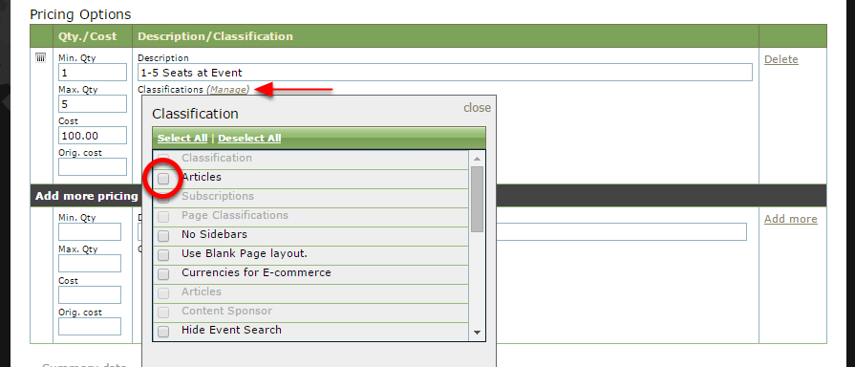 To assign a Classification to your event - for example, Corporate Table - click Manage next to the word Classifications and click the box next to the appropriate taxonomy.