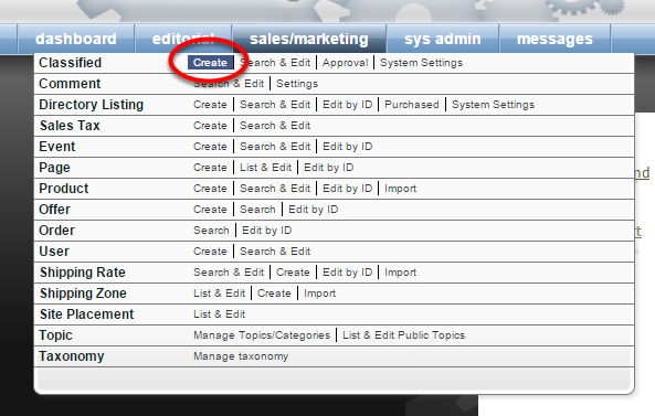 To create a new classified ad for your website, click on Create next to Classified under Sales/Marketing.