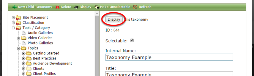 To display a topic/category that was previously hidden, click Display after clicking on your topic/category.