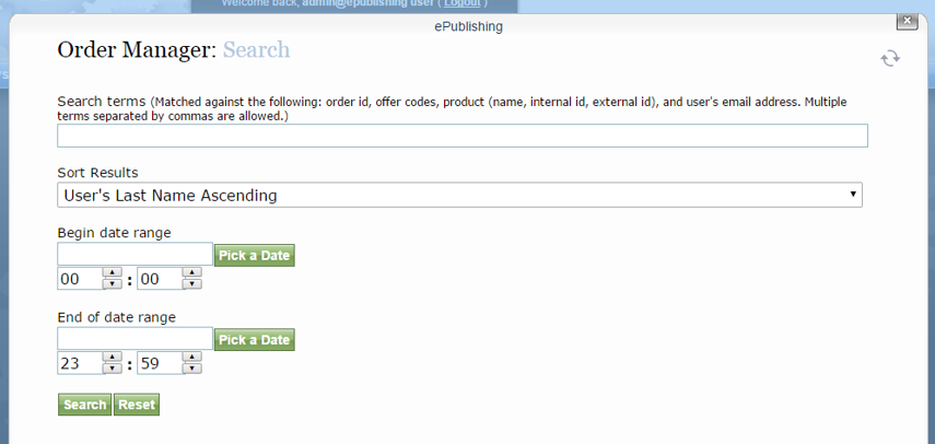 You may search for orders based on order ID, offer codes, product and user's email address.