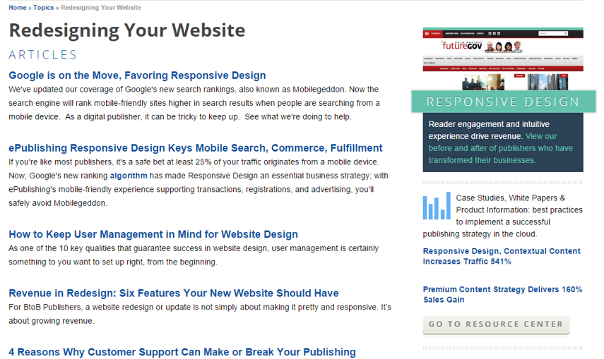 A dynamic topic landing page can take different forms, depending on your website's design.