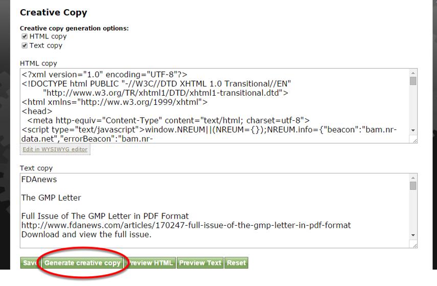 Click Generate creative copy.