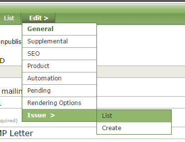 Under Edit, select Issue and then List.