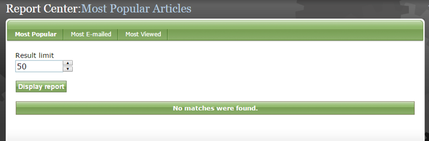 To view reports for Articles, click Article.