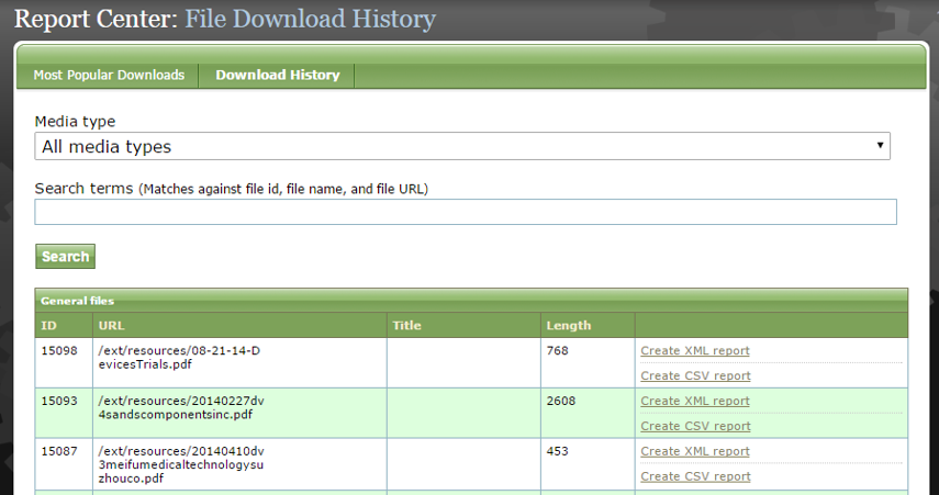 Click Download History to view a full history of downloads on your website. You may sort by Media type or search for specific files.