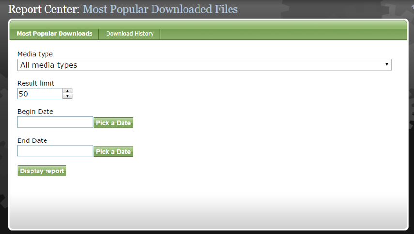 To view download reports for Files, click File. This includes both PDFs and audio and video files.