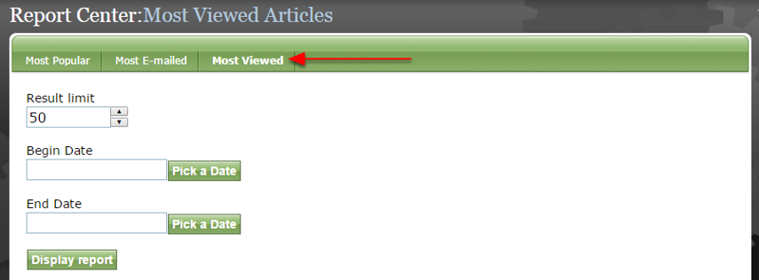 Click which report you would like to view: Most Popular, Most E-mailed or Most Viewed.