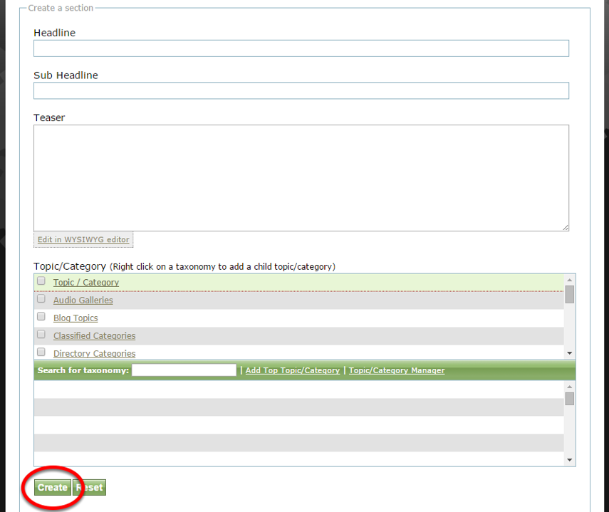 Add a new section by clicking Create at the bottom of the form after adding your new section details.
