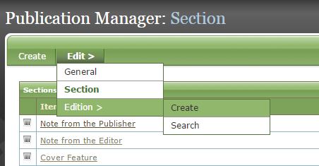 Are you ready to create a new edition of your publication? Under Edit, click Create next to Edition.