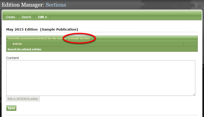 Each section set up when you created your publication will appear on this page.
